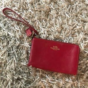 Handbags - Coach wristlet- Red.